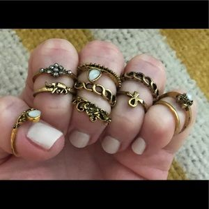 Jewelry - Boho Chic Knuckle Midi Gold Ring Set of 10